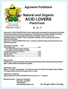 """Agrowinn's """"Acid Lovers Plant Food"""" is specifically formulated for gardeners that prefer to feed their plants Organically. This plant food provides essential nutrients required by acid loving plants like Azaleas, Camellias, Erica's, Ferns, Hydrangea (blue), Kalmias, Cacti, Columnias, Orchids, and others. Great for Clay Soils."""