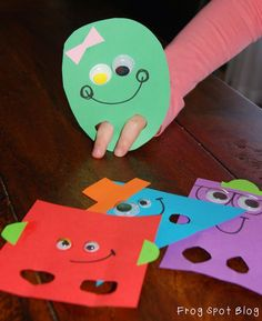 Frog Spot: 2D Shape Puppets - fun ideas for teaching about 2D shapes (Pinned by Super Simple Songs). #prek #preschool #shapes #kidscrafts #fingerpuppets
