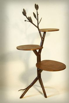 Small tree occasional table - Steel and wood  Shawn Lovell Metalworks