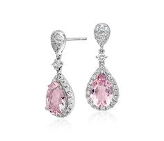 Morganite and Diamond Halo Drop Earrings in 18k White Gold (3.30 ct. tw. centre)