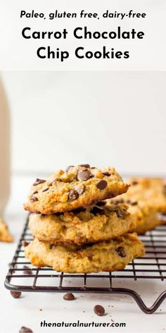 These Carrot Paleo Chocolate Chip Cookies are so delicious! Sweet, tender and loaded with good-for-you carrots…they are the perfect healthy dessert! Gluten free, dairy free, and naturally sweetened. The whole family will adore these! #cookies #carrotcookies #paleocookies #veggieloaded #healthy @naturalnurturer | thenaturalnurturer.com Paleo Cookie Recipe, Healthy Cookie Recipes, Carrot Recipes, Almond Recipes, Dessert Recipes, Cooking Recipes, Desserts, Carrot Cookies, Paleo Chocolate Chip Cookies