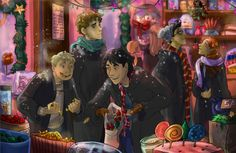 A very christmas-y visit in a candy shop in Hogsmead.