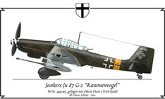 Junkers Ju 87 G-2 Kanonenvogel, flown by Hans-Ulrich Rudel. A cannon armed variant for tankbusting. Some use in western desert of north Africa, but more commonly found on the Eastern Front.