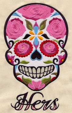 Sugar Skull - Hers  machine embroidery design via Urban Threads