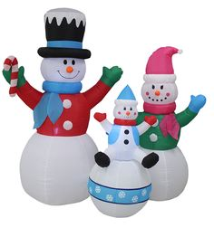 6 Foot Tall Christmas Inflatable Snowman Snowmen Family Lighted Yard Decoration *** Crazy deals that you can't miss : Collectible Figurines for Christmas