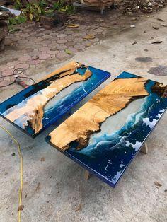 Coffee table Epoxy table river table ocean table handmade image 0 - juan mejia - Welcome Haar Design Epoxy Wood Table, Epoxy Resin Table, Diy Epoxy, Wood Tables, Coffee Table To Dining Table, Diy Table, Coffee Tables, Resin Crafts, Resin Art