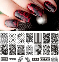 BORN-PRETTY-Nail-Art-Stamp-Plate-Lace-Flower-Pattern-Image-Template-BP-L020