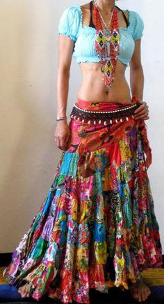 Ethnic Boho Gypsy Batik FULL FLAMENCO SKIRT Make sure you check out all our articles on fashion, wellness and health. Boho Gypsy, Hippie Boho, Gypsy Bag, Hippie Vibes, Modern Hippie, Gypsy Soul, Hippie Skirts, Boho Skirts, Wrap Skirts