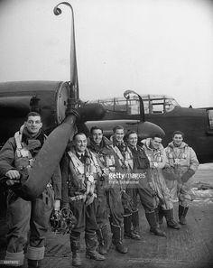 Pilot F. Wooton Gallager and crew, Alfred Young, Ronald Scott, Selwyn Fawcett, Charles Stewart, Kenneth Waddington & Murray Sherman with their Lancaster bomber which was forced to make an emergency landing after a bombing mission over Berlin.