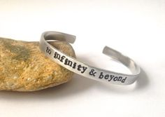to #Infinity and Beyond #Cuff #Bracelet by BlissfulBirdDesigns, $16.95 #stamped #quote
