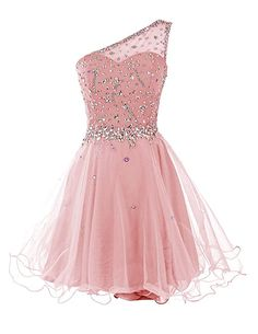 Dresstells Short One Shoulder Prom Dresses Tulle Homecoming Dress with Beads at Amazon Women's Clothing store List Price: 	$209.99 Sale: 	$64.99 - $99.99