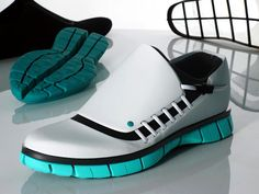Sustainable Running Shoe - made out of recycled materials and is only put together with 5 components without the use of adhesives. Look a little flashy but in a futuristic way.
