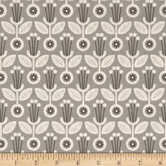 Grey Abbey Organic Deco Floral Grey from @fabricdotcom  Designed by Elizabeth Olwen for Cloud 9 Fabrics, this organic cotton print fabric is perfect for quilting, apparel and home decor accents. This fabric has GOTS certification. Colors include charcoal, grey and ivory.