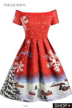 Christmas Dress Women Vintage Snowflake Print Off The Shoulder Short Sleeves Midi Dress Vestidos Winter Ladies Dresses Lava Red Vintage Christmas Dress, Christmas Dress Women, Christmas Fashion, 1950s Christmas, Christmas Sale, Christmas Ornament, Vintage Dresses 50s, 50s Vintage, 1950s Dresses