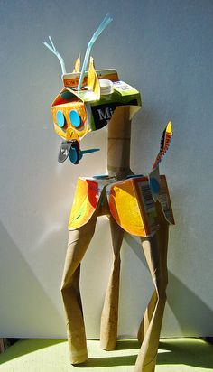 recycling bin puppet sculpture