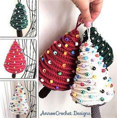 Annoo's Crochet World: Tree Ornaments Free Pattern Crochet Tree, Crochet World, Crochet Crafts, Crochet Yarn, Yarn Crafts, Crochet Projects, Crochet Christmas Decorations, Crochet Christmas Ornaments, Christmas Crochet Patterns