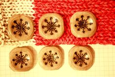 Snowflakes OR Mistletoe  one set of 6 hand by Walnuttreebuttons