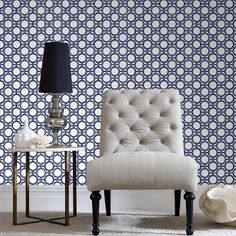 Enigma Blue White Wallpaper by Kelly Hoppen - Geometric Wall Coverings by Graham Brown Decor, White Wallpaper, Furniture, Blue Wall Covering, Living Dining Room, Contemporary Wallpaper, Blue Wallpapers, Wall Coverings, Blue And White Wallpaper