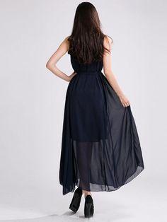 High Neck Chiffon Peplum Bohemian Dress