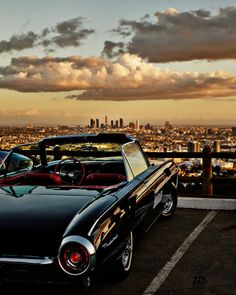 A 1963 Thunderbird parked overlooking Los Angeles