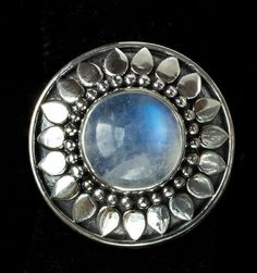 Silver Moonstone Sun Ring handcrafted in Sterling Silver by Bluemoonstone Creations.