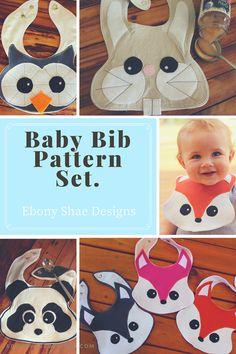 Baby Bib Sewing PATTERN Set.  Fox bib rabbit bib owl bib and