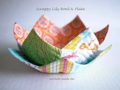 Lovely Lily Bowl and Plate - Wow any of your guests with these small quilt projects made from your scrappy quilt pieces. Any home will look more beautiful with this gorgeous bowl that you can also use to hold small objects.