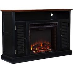 Fireplace Herschel Black Media Console TV Plasma LED XBOX Glass Wide New Free