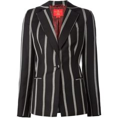 Vivienne Westwood Red Label Striped Blazer ($1,485) ❤ liked on Polyvore featuring outerwear, jackets, blazers, black, striped blazer, striped jacket, vivienne westwood red label, wool blazer and stripe blazer