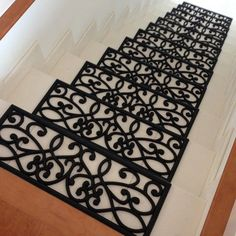 Rubber-Cal, Inc. New Amsterdam Black Stair Treads Stair Renovation, Stair Mats, Black Stairs, Staircase Makeover, Staircase Remodel, Basement Stairs, Redo Stairs, Tile On Stairs, Stair Storage