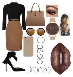 """""""Classic Bronze"""" by arohaawilliams on Polyvore featuring Phase Eight, Gianvito Rossi, Dolce&Gabbana, Agent 18, Lime Crime and Olivia Burton"""