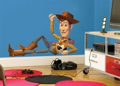 $17.99 Huge Woody Chillin' Toy Story Movie Decal Removable Wall Sticker Cartoon Room | eBay