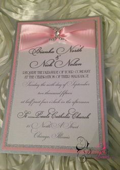 Pink and Silver Bling Wedding Invitation by CustomDesignsByLauri