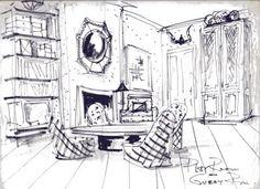 Marli Grace: Designer Dedication Series: Albert Hadley Drawing Interior, Interior Design Sketches, Interior Rendering, Sketch Design, Design Art, Cafe Interior, Fireworks Wallpaper, Osborne And Little Wallpaper, Albert Hadley