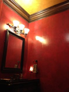 This Powder Room Walls Received Y Ruby Multi Layer Glazed Finish With A Glossy Topcoat