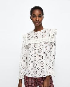 Image 2 of DIE-CUT EMBROIDERED BLOUSE from Zara