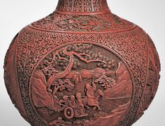 Cinnabar Vase, detail, China, 18th-19th century. Estimate $3,000-5,000. Photo Skinner.  BOSTON, MASS.- Skinner, Inc. will present an Asian Works of Art auction of over 700 lots on Friday, September 16, 2016 at 11AM, coinciding with Asia week auctions in New York City. The auction features several important private collections, including early Middle Eastern ceramics and manuscripts, tomb pottery from the Han and Tang periods, and an exceptional collection of early monochrome miniature…