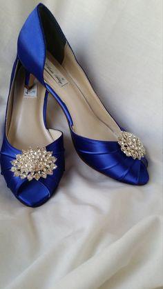 Wedding Shoes Kitten Heel Blue By ABiddaBling