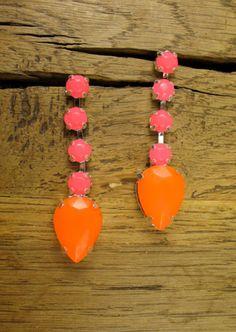 Beautiful Neon Orange and Hot Pink Crystal Earrings - $25.00