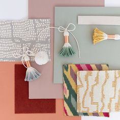 Mood board: Farrow & Ball Sulking Room Pink, Pigeon and Red Earth with rust velvet, mustard, grey and green fabrics.