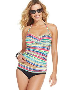 Anne Cole Striped Bandeau Tankini Top & Banded Striped Brief Bottom -  Swimwear - Women - Macy's. Long Torso - Macy's