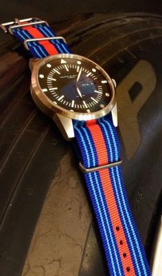 Fabric Nato strap This Natostrap and further 65 styles can also be purchased in our store in Zurich. The NATO-strap was first presented to the British Ministry of Defence. Swiss Made Watches, Nato Strap, Zulu, Zurich, Bracelet Watch, Racing, Bracelets, Fabric, Jewelry