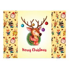 Shop Christmas Greetings Postcard created by Vibesofcolor. Christmas Greetings, Holiday Cards, Christmas Cards, Merry Christmas, White Elephant Gifts, Postcard Size, Reindeer, Paper Texture, Create Your Own