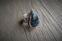 Azurite Tear Drop Textured Sterling Silver Ring by Quiet Time Jewelry
