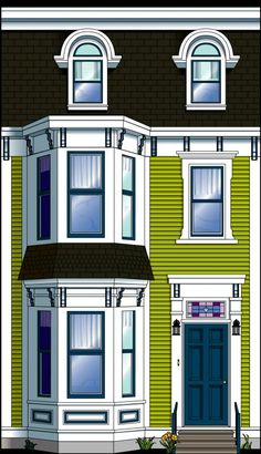 Jellybean Row Bright Pictures, Newfoundland And Labrador, Paper Houses, Facade House, Home Logo, Stage Design, Fairy Houses, Jelly Beans, Little Houses
