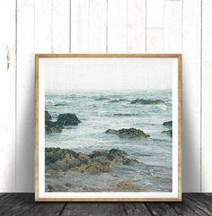 Beach House Art, Ocean Water Print, Coastal Beach Nautical Decor, Large Square P… - Home Design and Frames On Wall, Framed Wall Art, Beach Art, Blue Beach, Water Printing, Beach House Decor, Decorating Blogs, Painting Frames, Home Art