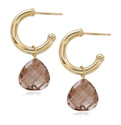 A Simple Gold & Smokey Quartz Gemstone Earring for Winter Style. Style #03-601SQ