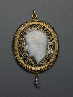 Cameo Portraying Emperor Tiberius, Cameo: Roman, c. A.D. 14–37  Frame: Probably French, early 16th century