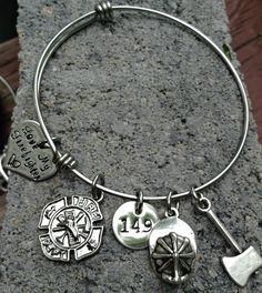 Love My Firefighter Expandable Stainless Steel Bracelet Personalized with helmet number- NEXT Business Day Shipping! by myheartsaKEs on Etsy https://www.etsy.com/listing/193459019/love-my-firefighter-expandable-stainless