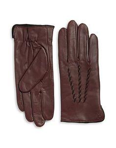 Lauren Ralph Lauren Thinsulate Leather Gloves Women's Coffee Large
